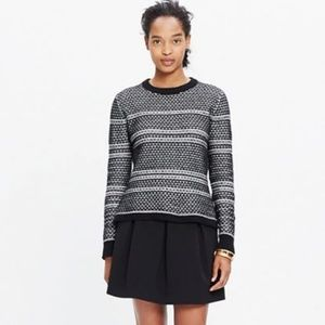 Madewell Fine Print Pullover Black/White Sweater S